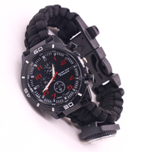 Praktische Polsband <span class=keywords><strong>Paracord</strong></span> Survival Armband <span class=keywords><strong>Horloge</strong></span> voor Wandelen Camping
