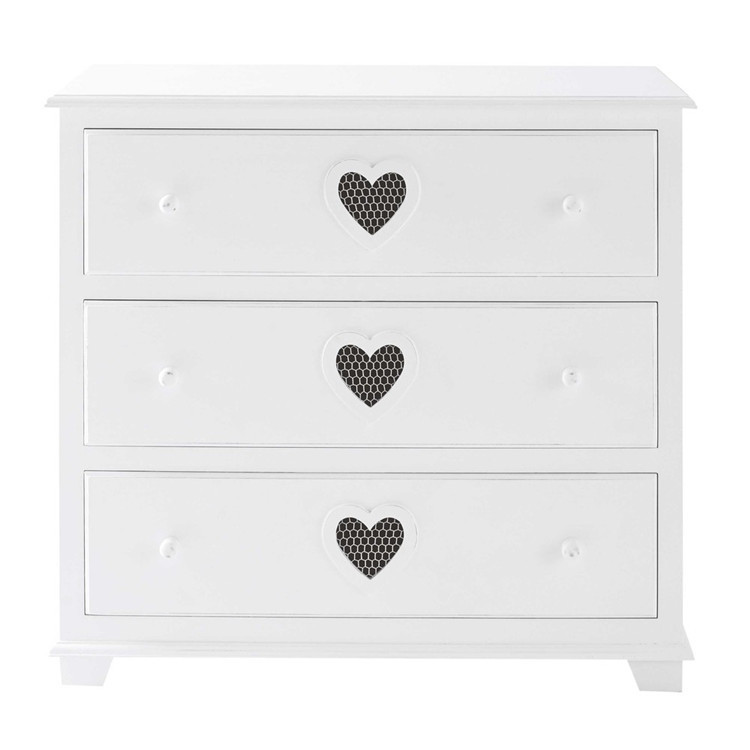 White exquisite three-story drawer cabinet suitable for wood night stand