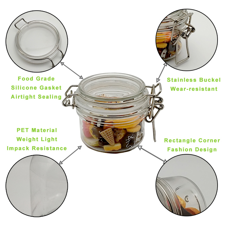 3pcs 100ml Airtight Jar, Spice PET Jar With Leak Proof Rubber Gasket And Hinged Lid For Home,3Pcs A Set