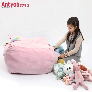 Stuff Toy Storage Bean Bag Cover 38 Inch Velvet Extra Soft Stuffie Organization Replace Mesh Toy Hammock