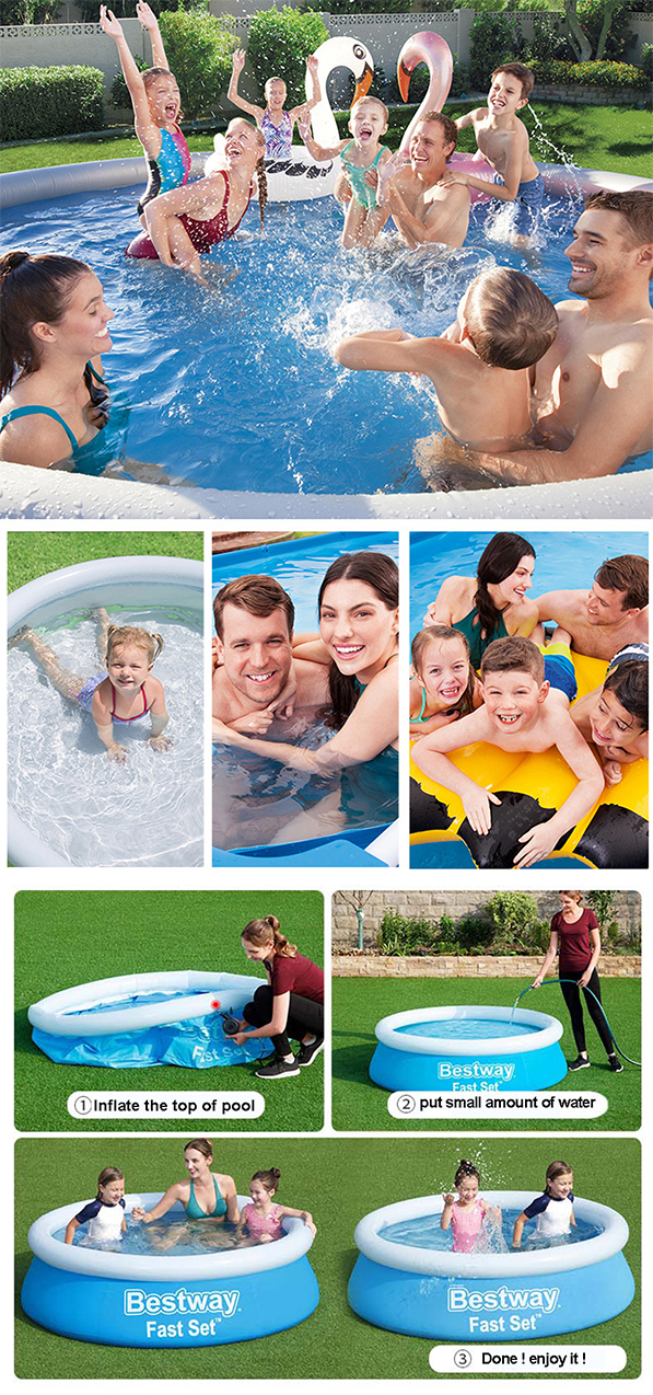 183 cm family inflatable swimming pool  large round garden swimming pool outdoor children  adults and children PVC game pool