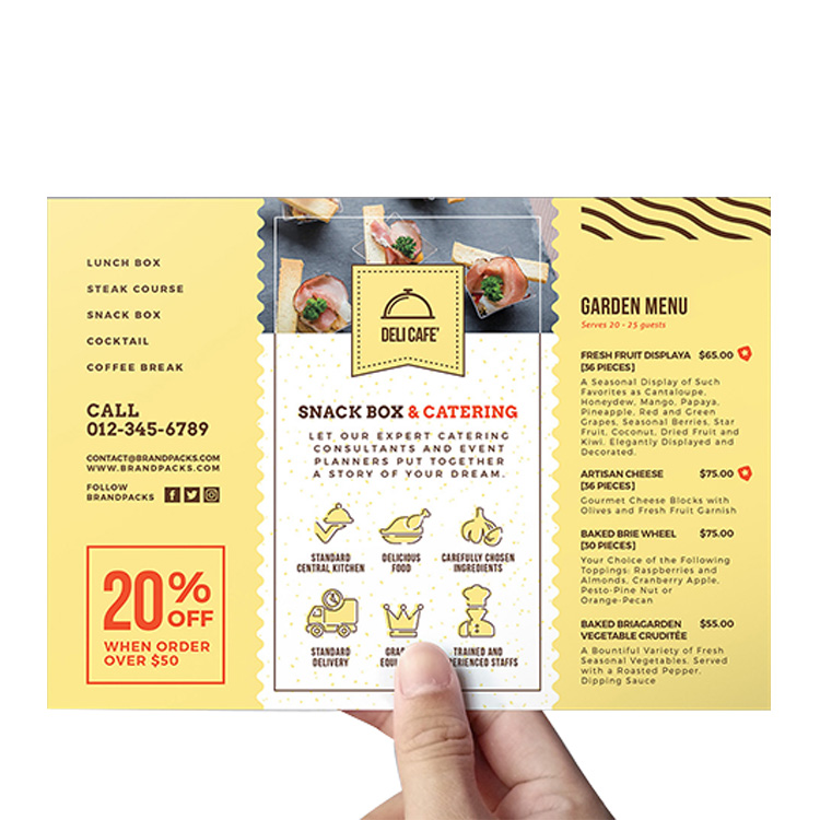 promotional custom printing service catering business marketing a4 color print flyer
