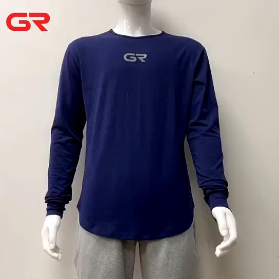 Dark Brown Gym Wear Scalloped Hem Custom Mens Long Sleeve T Shirt