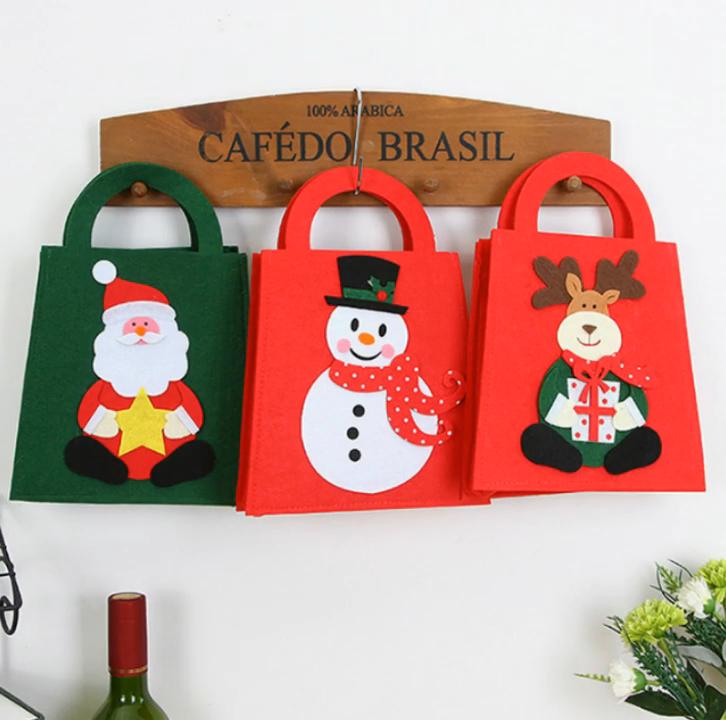 Прямая продажа с фабрики Войлок DIY рождественские подарки рождественские большие красные сумки в клетку буйвола красные и w