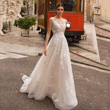 Свадебные платья с глубоким вырезом и элегантной кружевной аппликацией в пол, с открытой спиной, винтажное свадебное платье Vestido de Noiva(China)