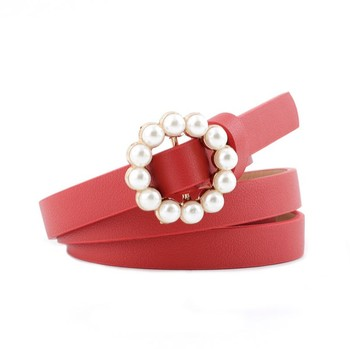 Hot Sale Fashion pearl Buckle Ladies Pu Leather Belt For Women Dress