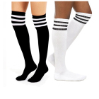 custom cotton knee high white black women long tube socks for sexy women and school girl striped knee high dress socks