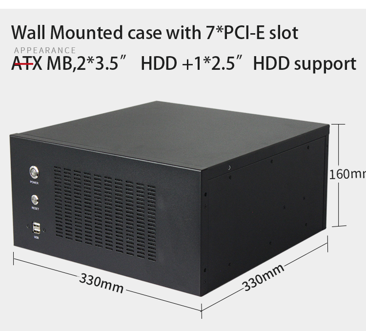 Good quality 4U Wall mounted rackmount network thin mini itx chassis ATX MB support