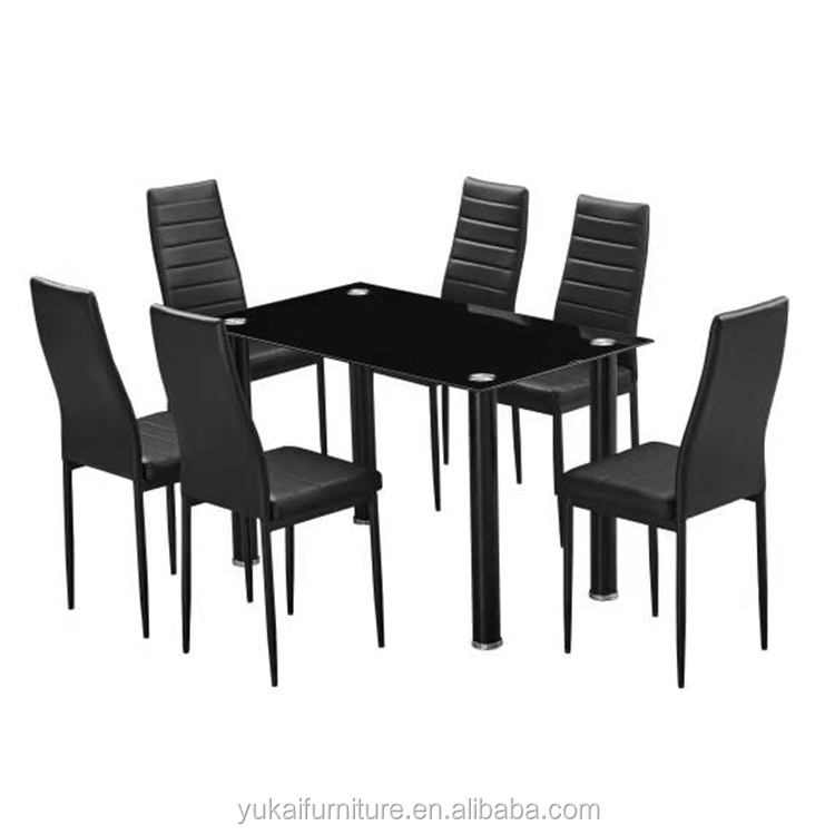 Promotion 7pcs Tempered Glass Top Dining Table Set With Black White Cushion Chairs For Dining Room Kitchen Room Buy Promotion 6 Pvc Cushion Chairs And 1 Table Tempered Glass Top Metal Frame