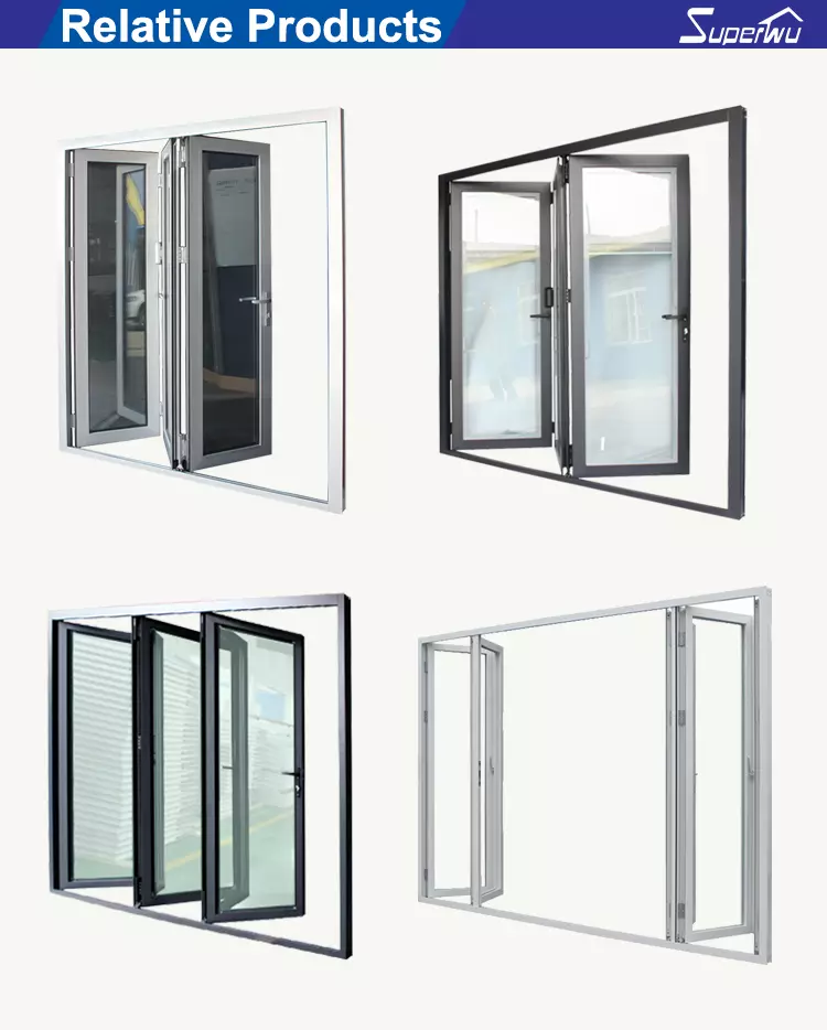 AS2047 NFRC AAMA NAFS NOA standard double glass Stainless steel  hinges folding sliding doors