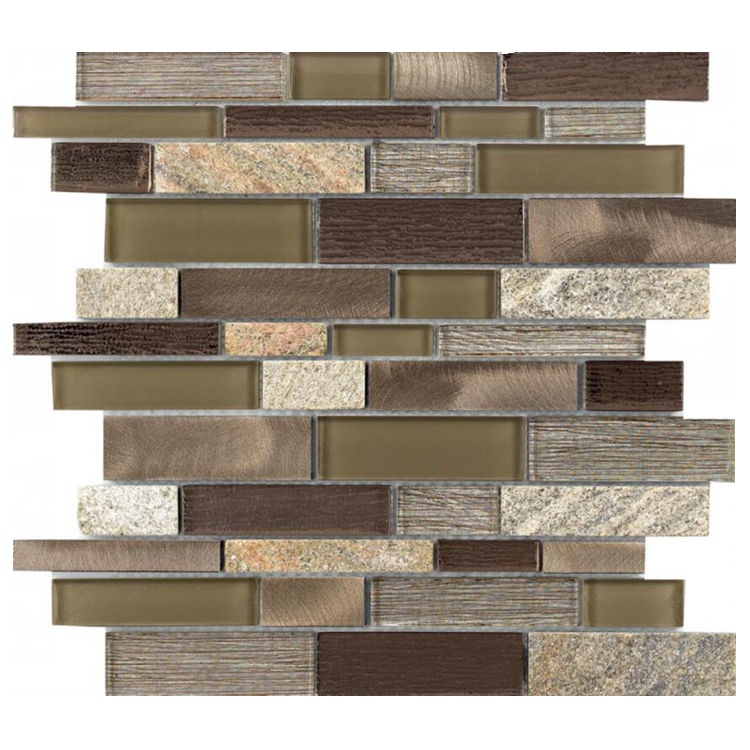Top Selling Laminated Glass Mosaic tile Brown Mosaic Long strip for bathroom and kitchen Foshan China