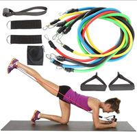Physical Therapy Home Workout Yoga Pilates Resistance Training Sports Elastic Bands, 11 Pcs Resistance Band Set/