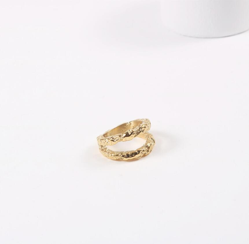 Luxury Vintage Women Rough Surface Textured Double Band Ring Chunky Thick Gold Plated Stainless steel