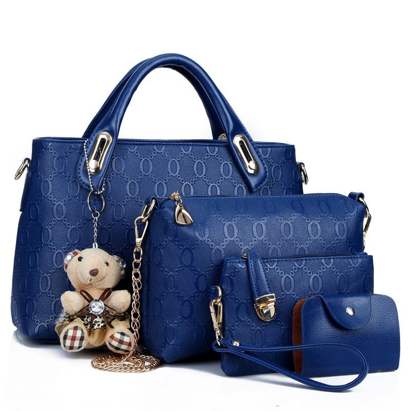 Women 4 Set Handbags Pu Leather Fashion Designer Handbag Shoulder Bag Black Vintage Female Messenger Bag Sac A Main