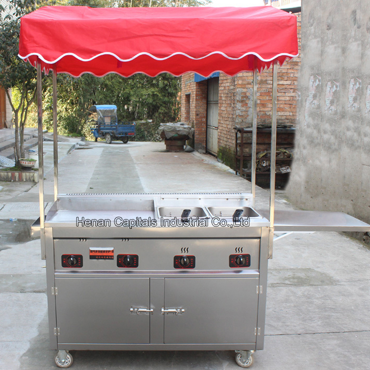 Stainless steel French Fries Vehicle  Mobile Trailer Gas Breakfast Stall  Food Cart  with Grill and 2 Fryers For selling Hot Dog