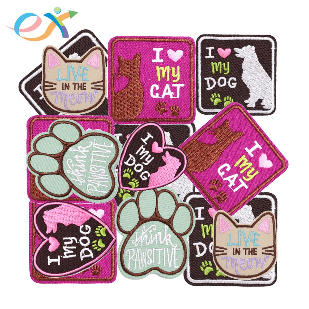 Low MOQ stock embroidery patch animal dog embroidered patches for wholesale