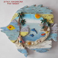 Polyresin fish shape wall hanging with beach view designs