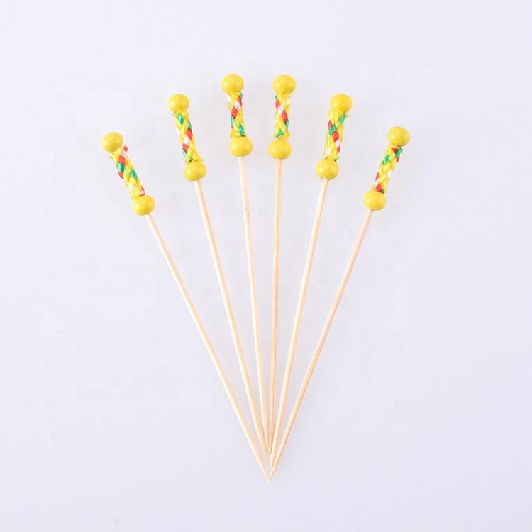 Bâtonnets de brochettes en bambou jetables, lot de 100, avec boule jaune, pour décoration, Art, BHL1255