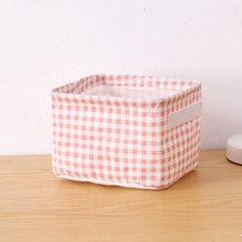 Хлопковая льняная настольная корзина для хранения, коробка для игрушек, контейнер, Складная Ткань, лен, настольный контейнер, органайзер дл...(Китай)