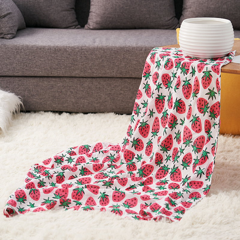 Amazon hot selling custom design cotton muslin swaddle blanket baby wrap 120*120cm, Picture