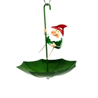 Wholesale Handmade Garden Metal Cute Gnome Hanging Decorative Umbrella Shape Home Bird Feeder