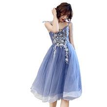Платье для выпускного вечера It's Yiiya AR279 элегантное платье с v-образным вырезом и аппликацией с вышивкой Vestidos De Fiesta голубое платье на бретельк...(Китай)