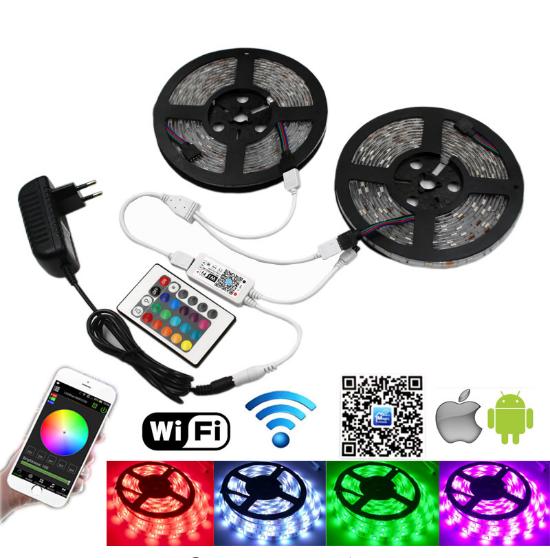5m Smd Led Strip 5050 Rgb Ip65 impermeable 300 Led cinta de luz 24 teclas remoto 12v 6 A Kit de fuente de alimentación