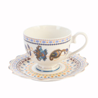 wholesale the best quality ceramic porcelain fine bone china tea sets with flowers for restaurant daily in a low price