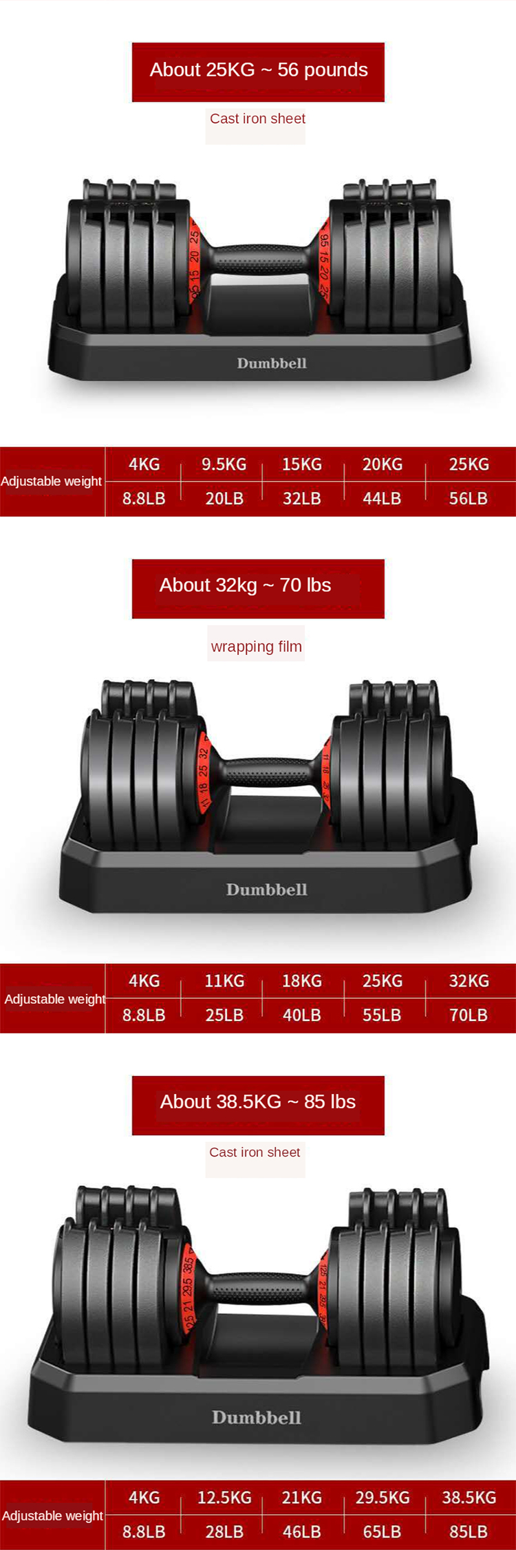 Basso prezzo di 40 kg manubri regolabili set 32 20kg dumbells Migliore