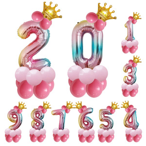 32inch Number Foil Balloons Digit air Ballon Kids Birthday Party Festival Party anniversary Crown Decor Supplies Balloon