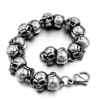 Luxury Heavy Vintage Silver Black Biker Gothic Skull Stainless Steel Men's Bracelet