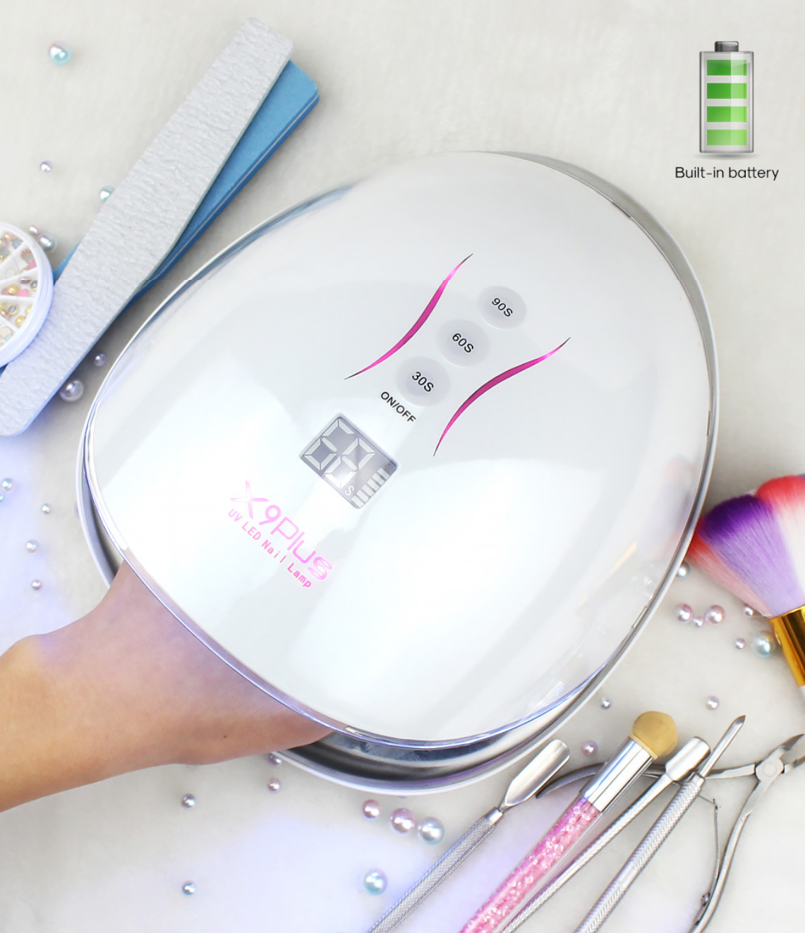2021 Amazon New trending High quality Efficiency High grade Heavy duty for salon manicure Wireless UV led nail lamp rechargeable
