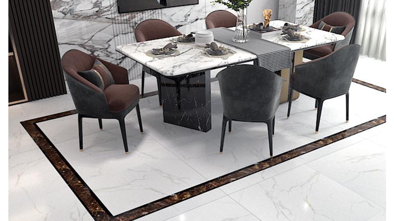 Carreaux de sol en porcelaine design de sol en marbre dubai 600x600mm carreaux émaillés polis haute brillance pour salle de bain