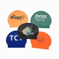 Fashion Customized Logo Colorful Swim Hat Latex Swimming Cap For Wholesale