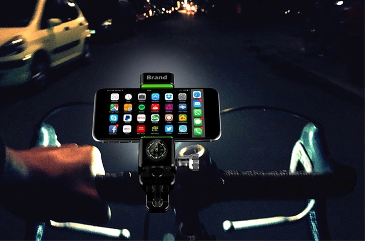 ABS Bike accessories universal motorcycle mountain bike mobile cell phone holder with compass and light