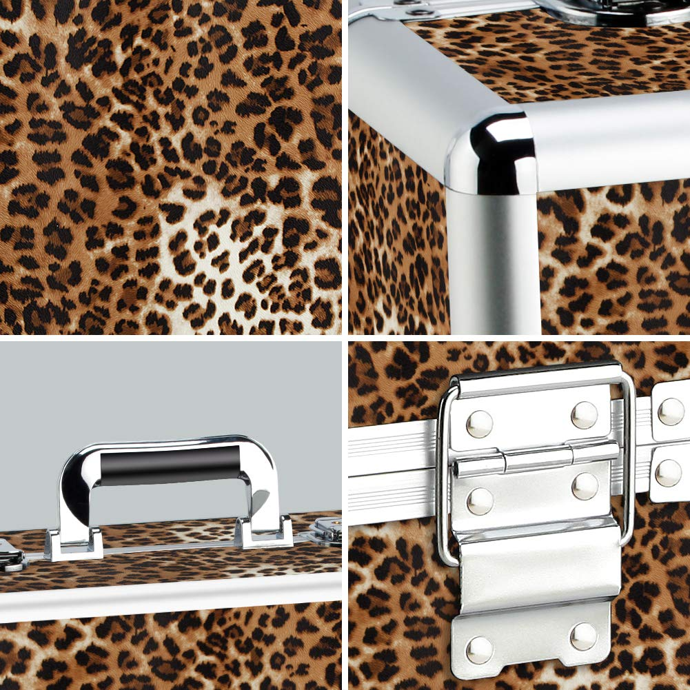 Makeup Case - Professional Portable Aluminum Cosmetics Storage Box With Locks and Folding Trays Leopard Print