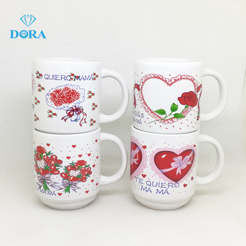decal printing 11oz stackable coffee mug ceramic decal milk mugs for coffee or milk wholesale