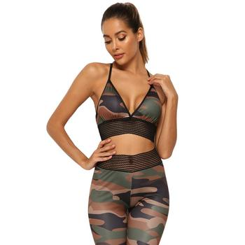 Camouflage Printed Yoga Pants High Waist Leggings Casual Sports Suit