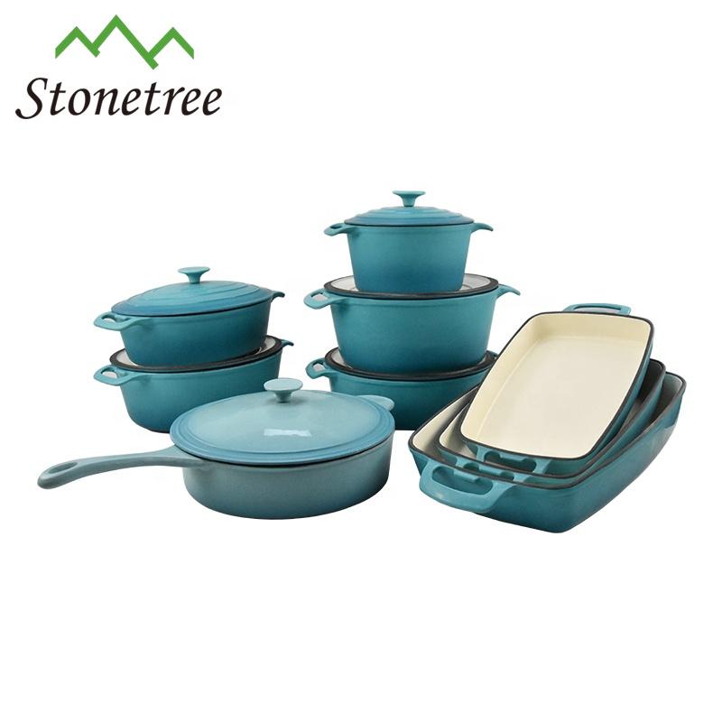 cast iron enamel kitchen cookware set cooking pot sets