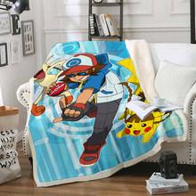 Забавное одеяло Pokemon Pikachu с объемным принтом, шерпа, одеяло на кровать, домашний текстиль, сказочный стиль 11(Китай)