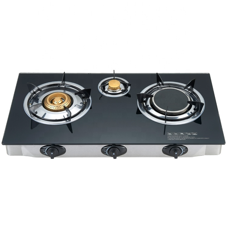 Honeycomb burner 7 mm tempered glass top powerful cast iron black 3 burner gas stove cooker