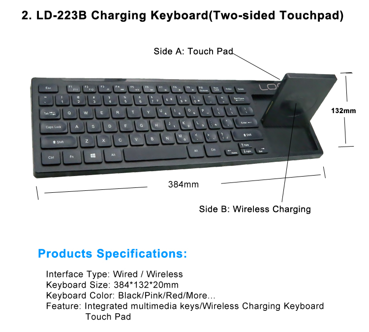 Super Thin Laptop Keyboard Rechargeable Li-ion Battery Keyboard Wireless