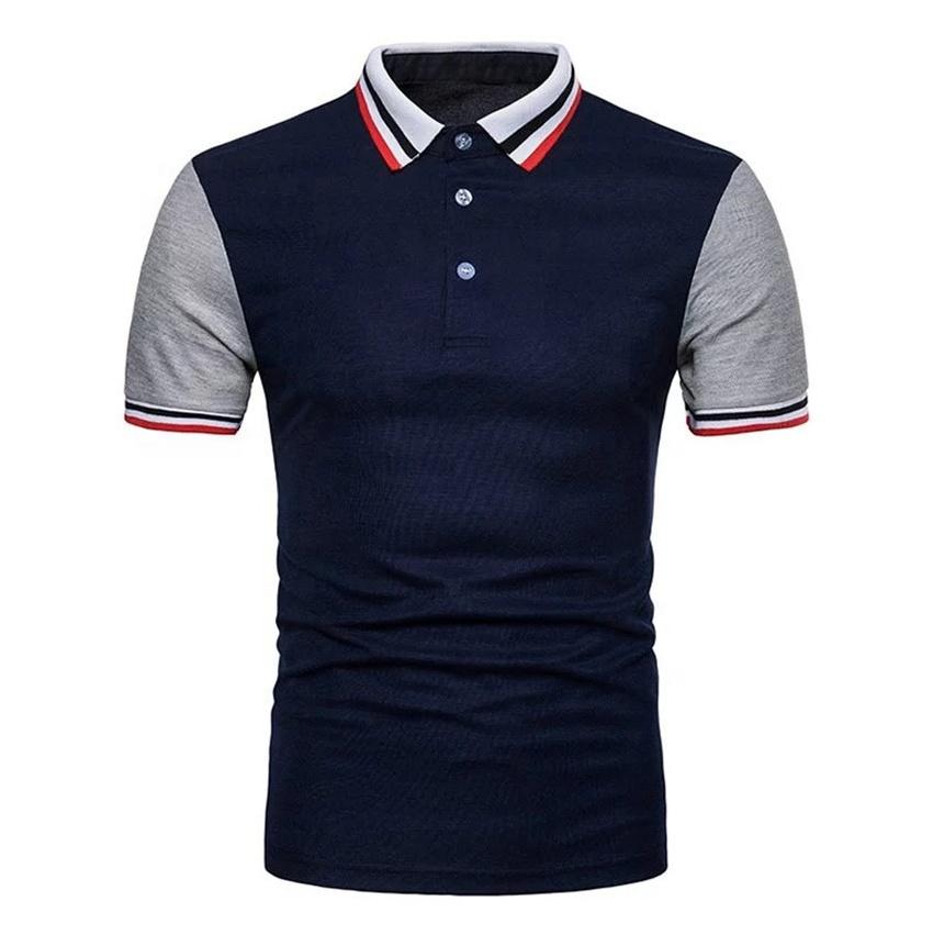 Angepasst top qualität männer polo hemd kontrast farbe ärmel polo t shirt gestrickte pique polo-shirt lieferanten