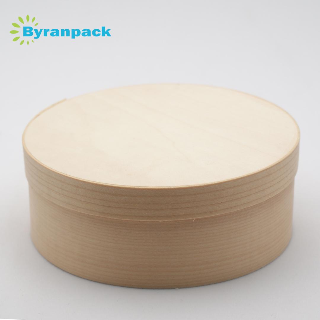 Yuvarlak şekli ahşap kaplama kutusu peynir kutusu