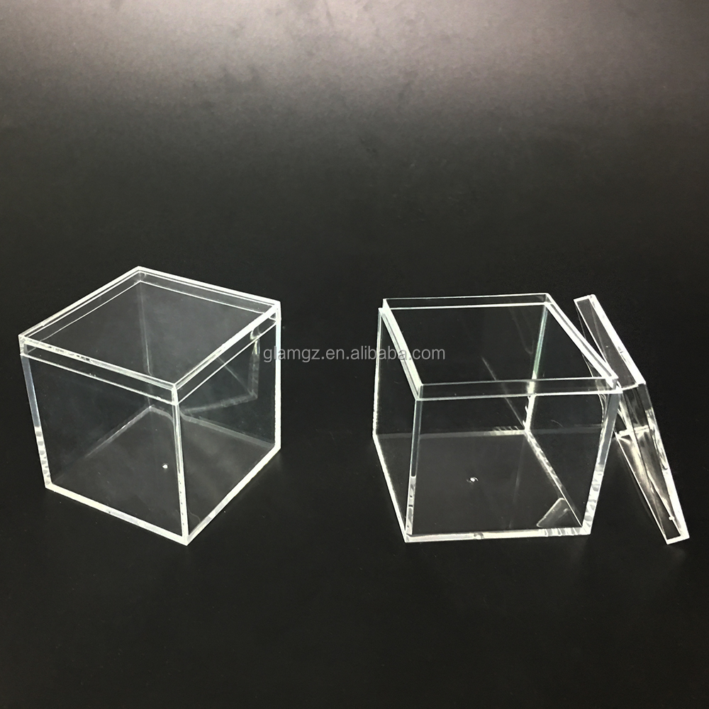 Plastic Small Food Grade Candy Box Clear Acrylic Cube Wedding