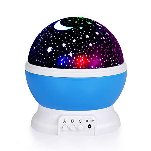 360 Degrés Rotation Romantique 4 Ampoules LED 9 Lumières Couleur Changeante Cosmos Étoile Ciel Lune Projecteur Veilleuse avec USB câble