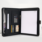 Grain For Black Custom Handmade Fancy Pu Personalized Tri-folder Memo Pad Makeup Zippered A4 Letter Size Zip Leather Portfolio