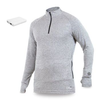 Winter Half zipper Long sleeves rechargeable battery heated base layer top shirt coat mens golf sports pullover thermal wear