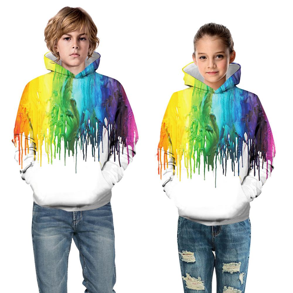 Children Fleece Hoodie 3D Printed Pullover Sweatshirts Hooded Top Galaxy Pattern Hoodie