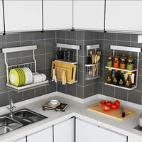 Kitchen Wall Mounted 201 Stainless Steel Rotating Seasoning Rack Kitchen Dish and Bowl Rack